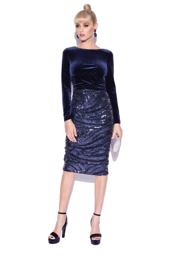 Sequined velvet bodycon dress
