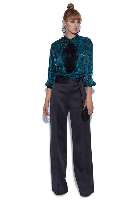 Pantaloni eleganti cu cordon in talie