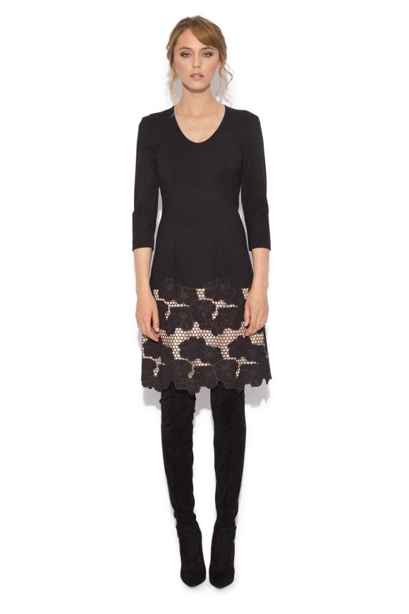 Midi dress with embroidered  hem