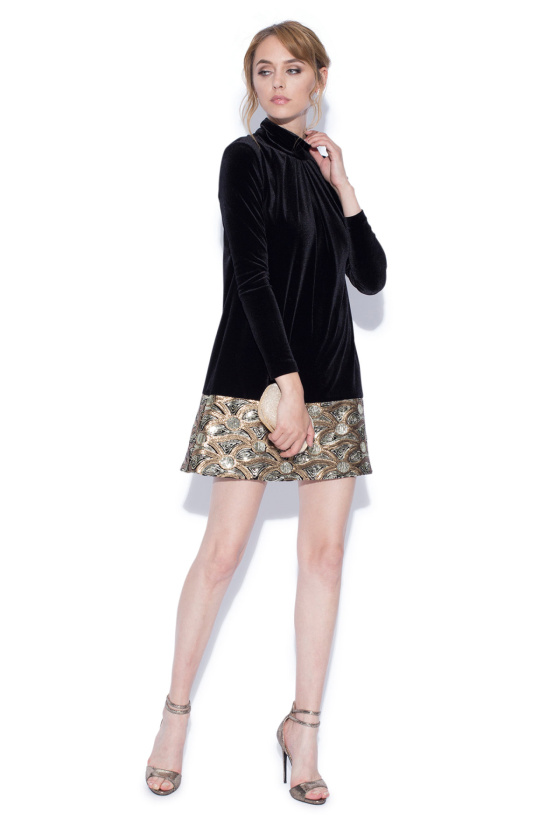 Turtleneck velvet and sequin dress with long sleeves