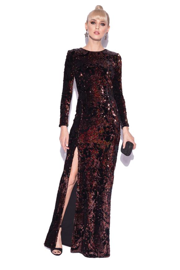 Long sequin dress with side split