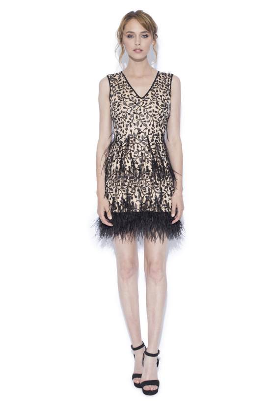 Mini dress with ostrich feathers