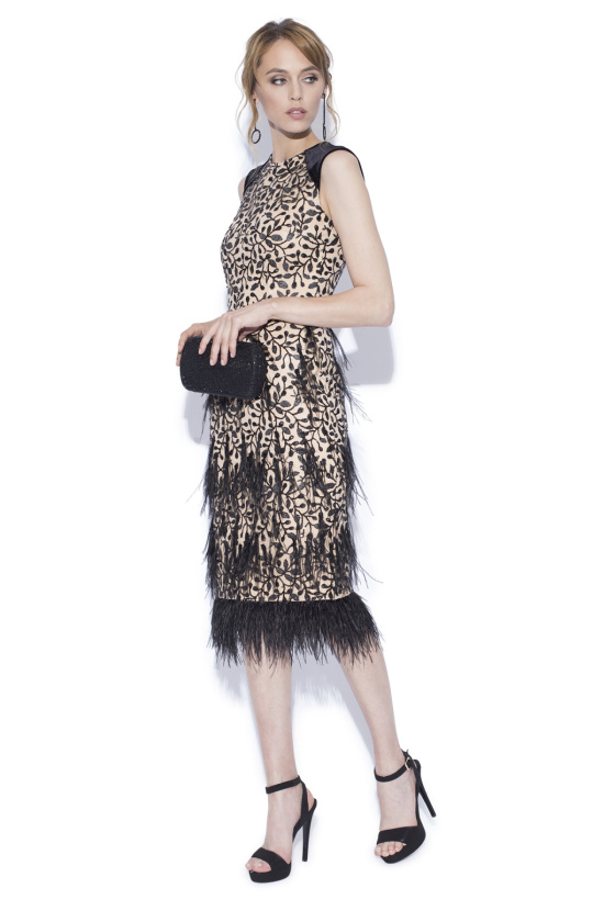Midi dress with ostrich feathers