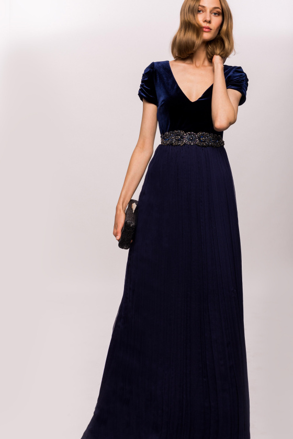 Velvet and silk dress with waist detail
