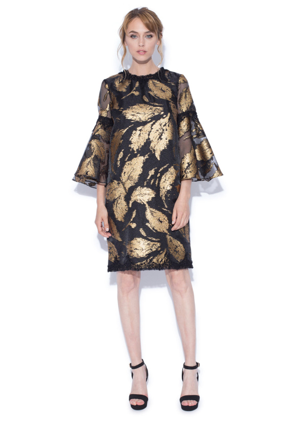 Gold leaves print bell sleeves dress