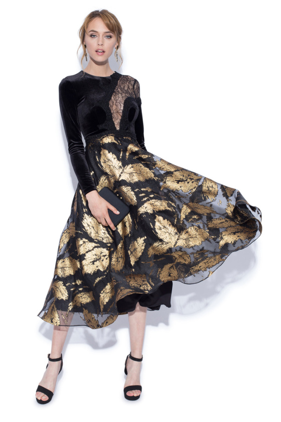 Leaves print velvet and lace inserts dress