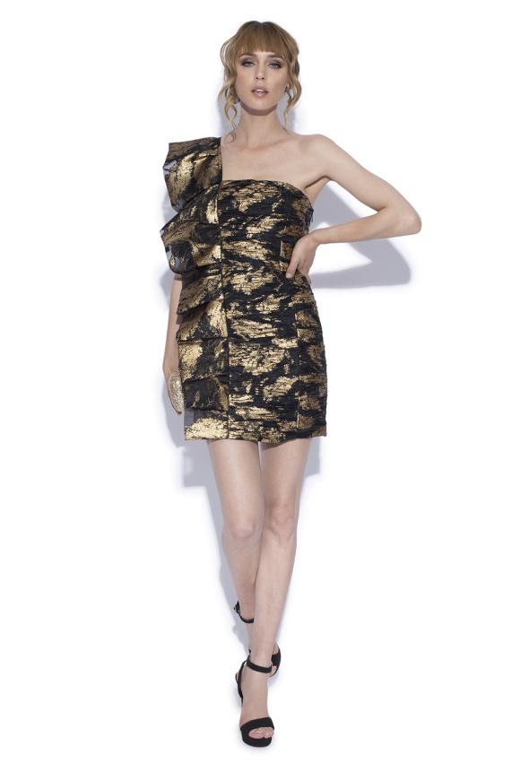 Mini dress with side ruffle
