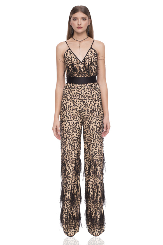 Printed jumpsuit with ostrich feathers