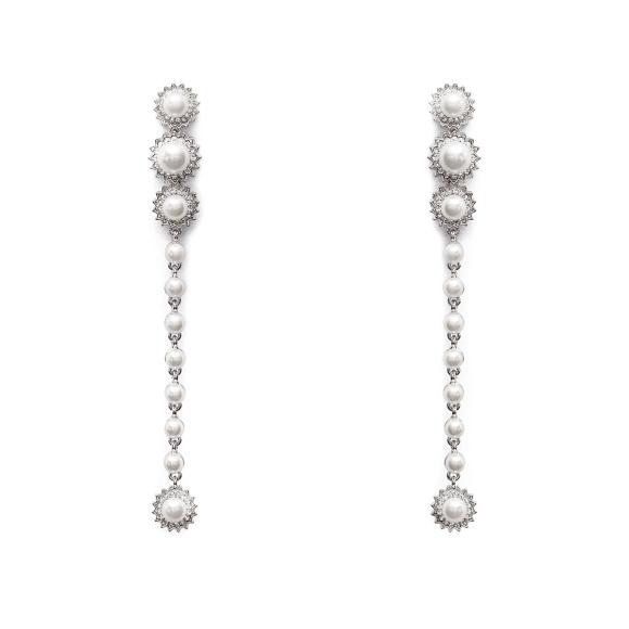 Cercei eleganti cu aplicatii tip perle