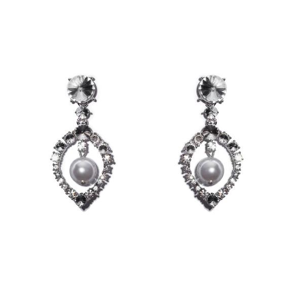 Cercei cu cristale de sticla si aplicatii tip perle