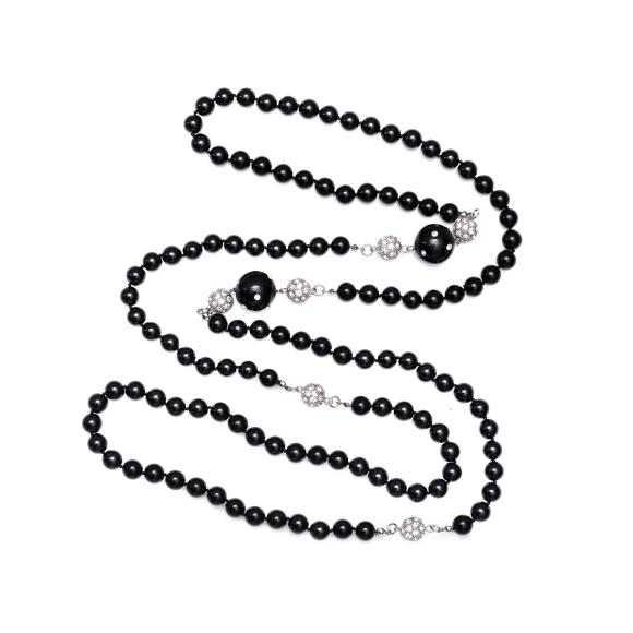 Colier maxi cu detalii tip perle si cristale