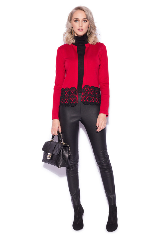 Red cardigan with black embroidery details