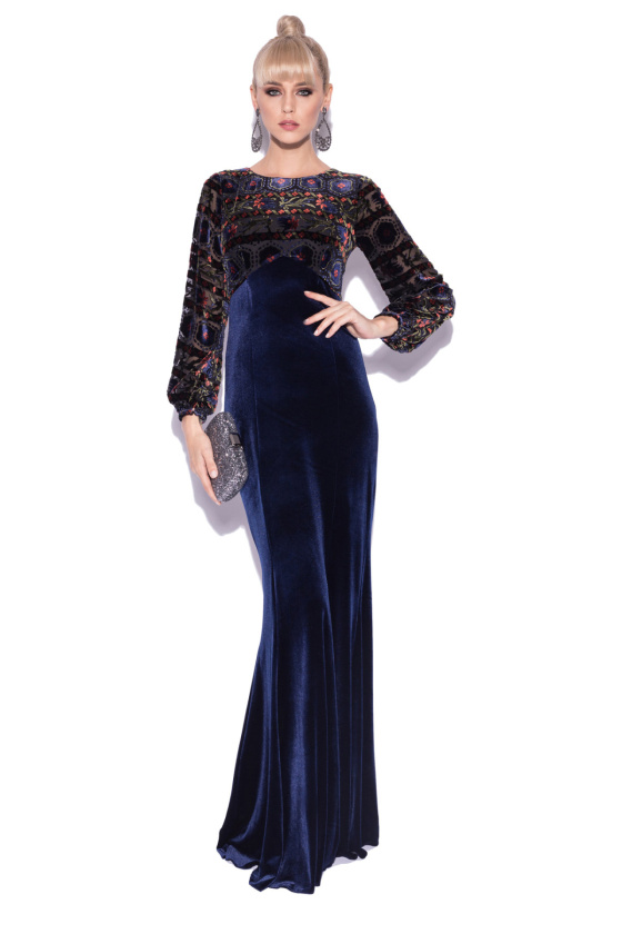 Velvet abstract print dress with long sleeves
