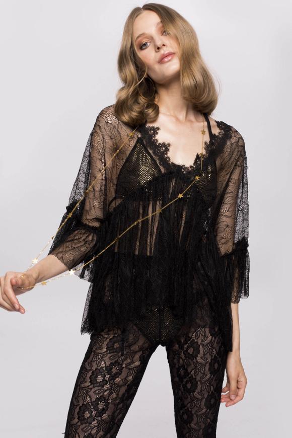 Transparent lace top