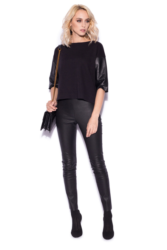 Loose top with leather details