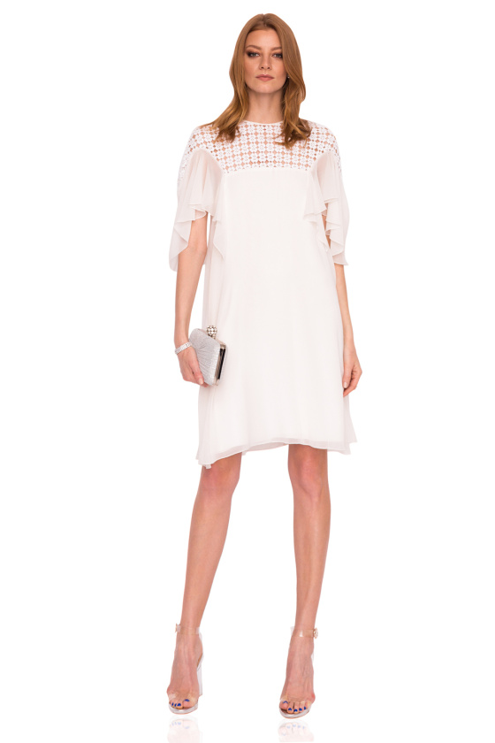 Lace details asymmetrical sleeves dress