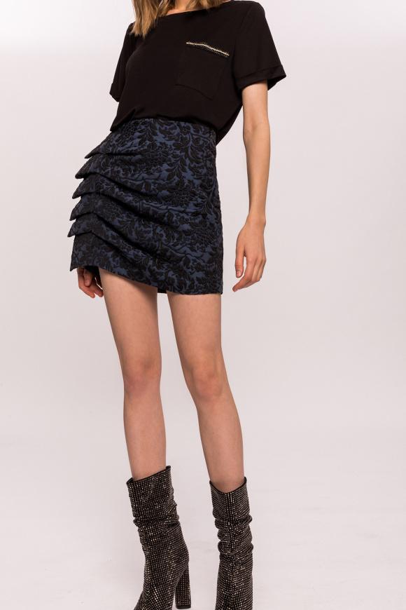 Jacquard side ruffle mini skirt