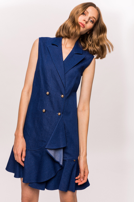 Sleeveless denim lapel dress