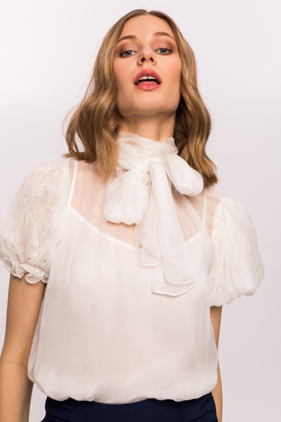 Silk top with short puffed sleeves