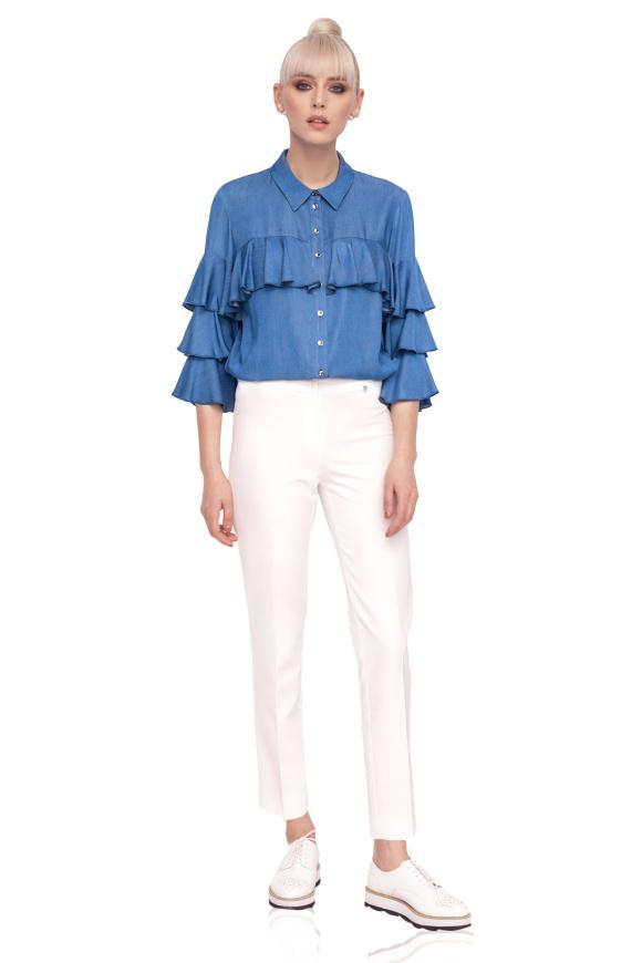 Denim ruffled blouse