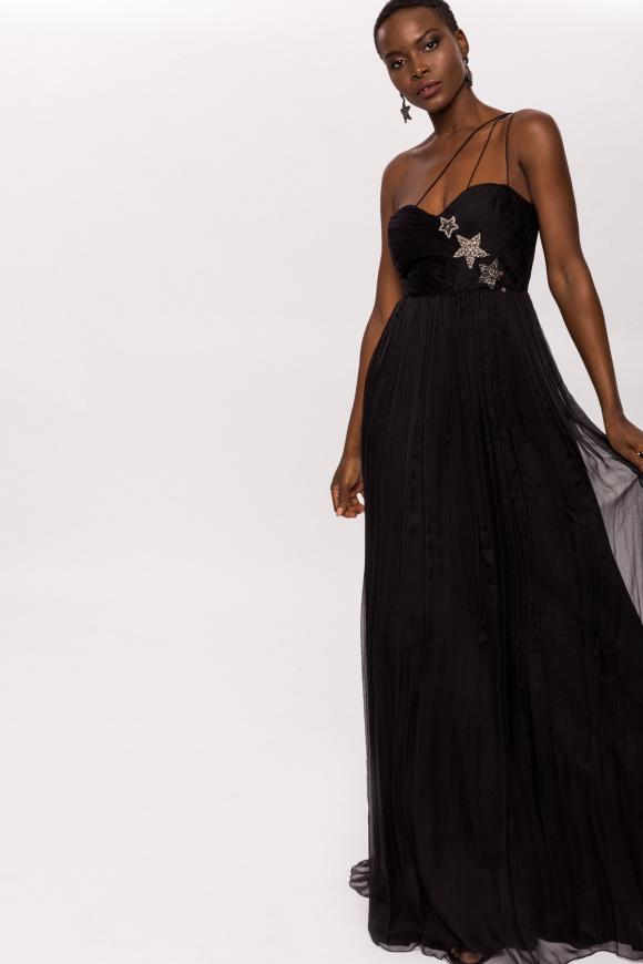 Crystal details silk dress