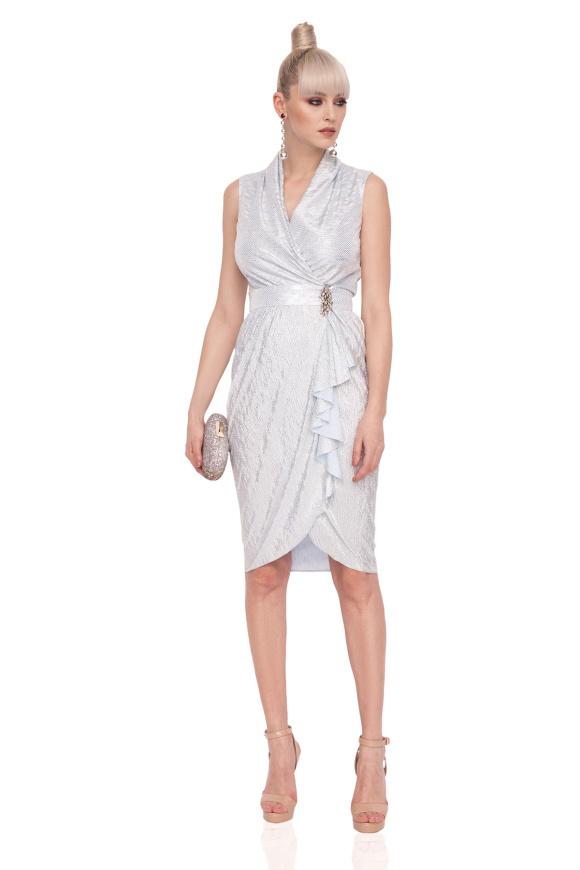 Drapped dress made of metallic fabric