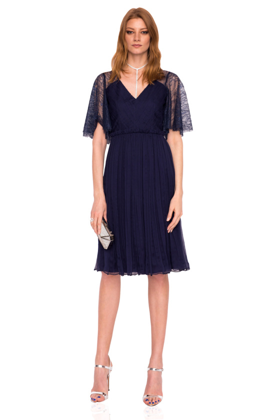 Silk dress with lace sleeves and back