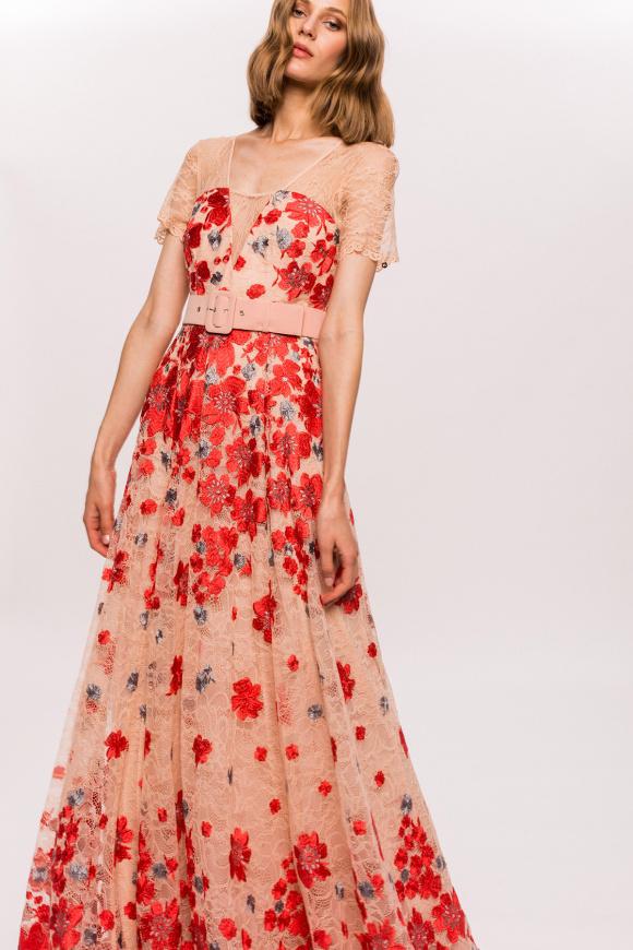 Rochie cu broderie florala si insertie de dantela