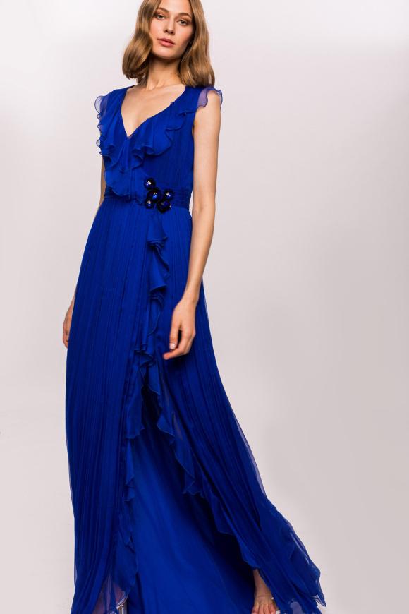 Silk high slit dress with waist detail