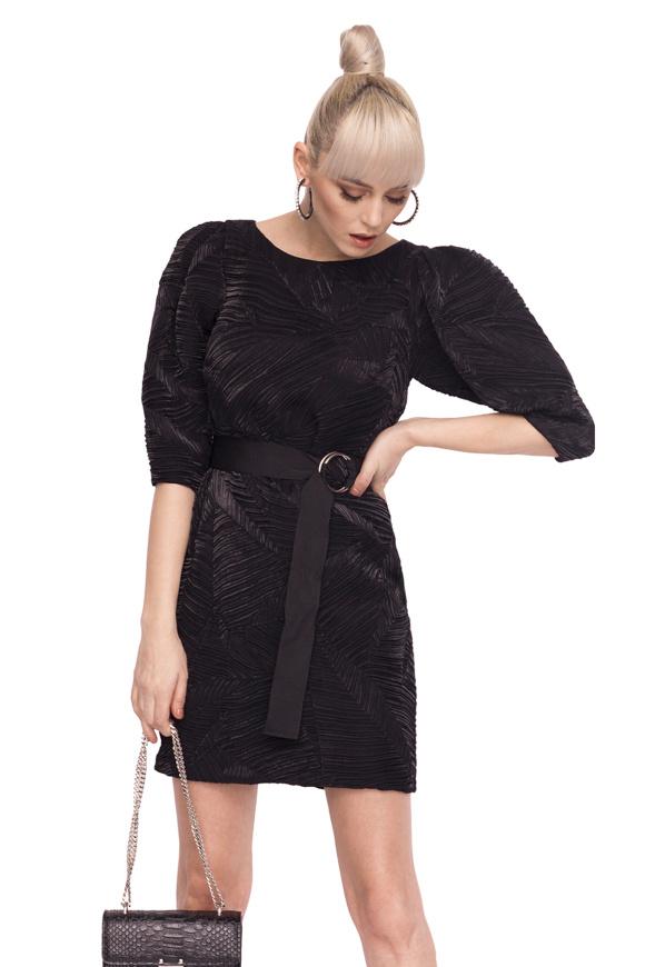 Rochie de seara cu efect shiny si curea in talie
