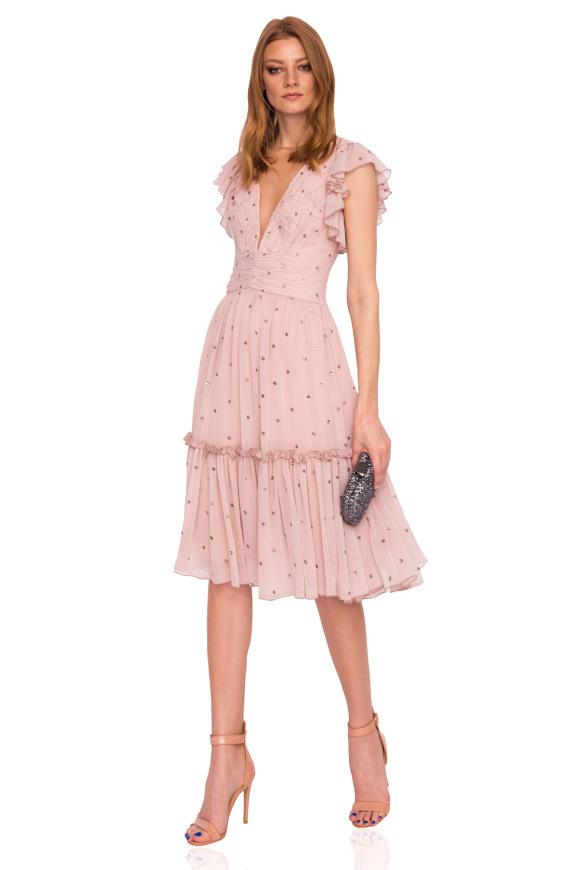 Elegant midi dress with V- neckline