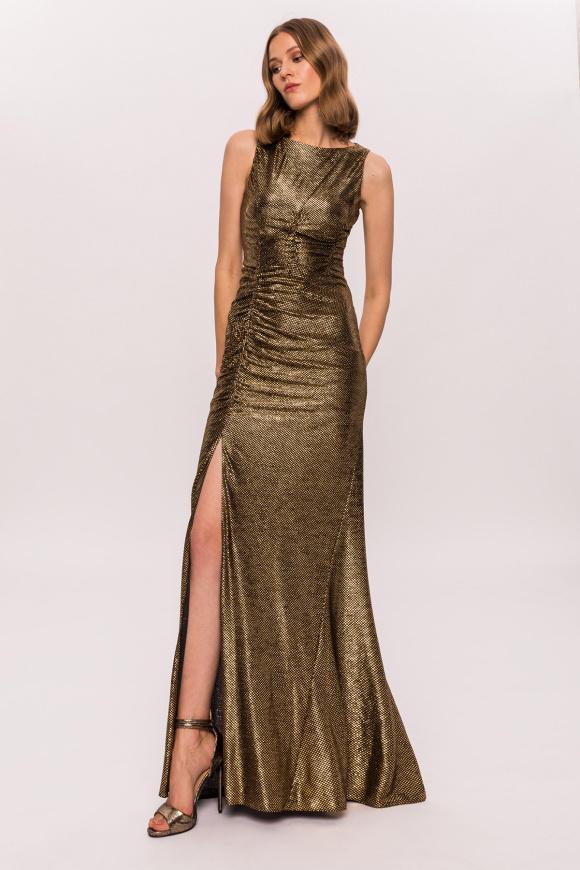 Golden slit dress
