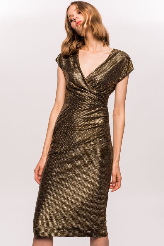 Golden dress bust wrap dress