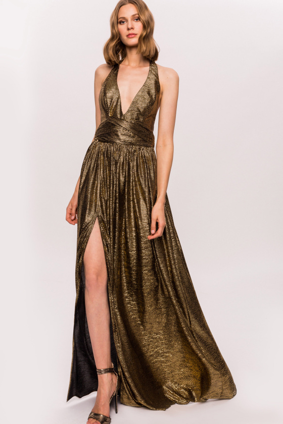 Golden, nacked back dress