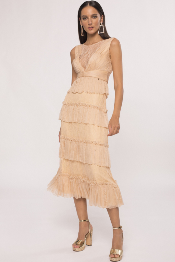 Ruffled silk dress with lace insert