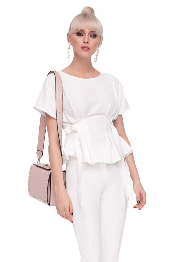 Elegant top with waist ribbons