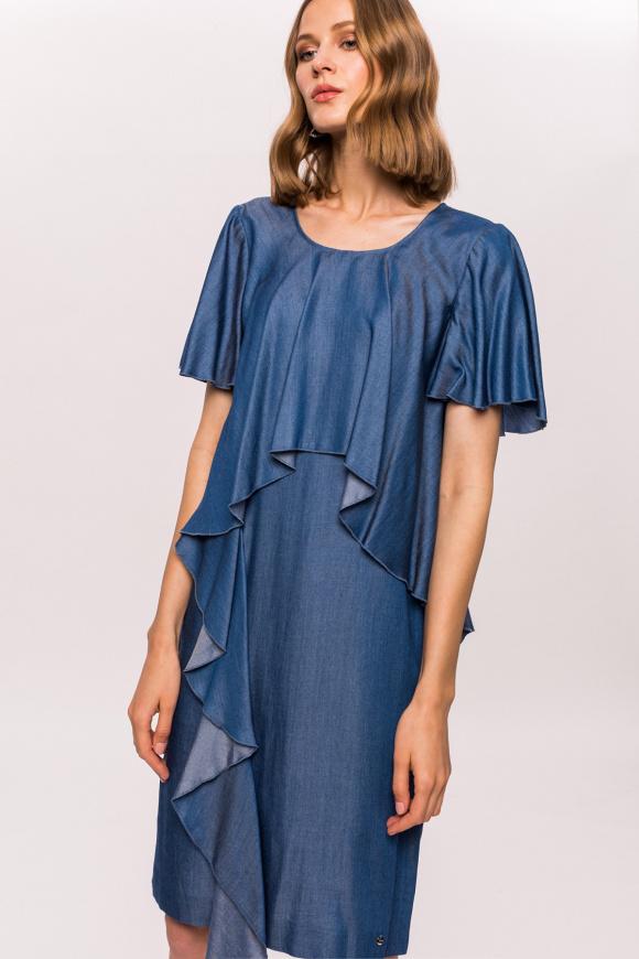 Denim dress with ruffle details
