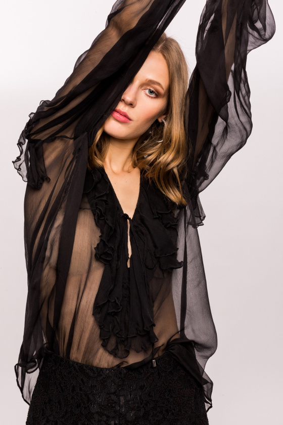 Silk top with delicate ruffles