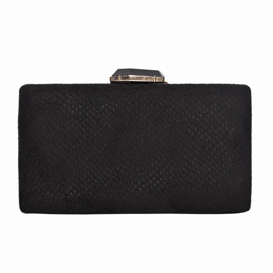 Elegant clutch with metallic closure