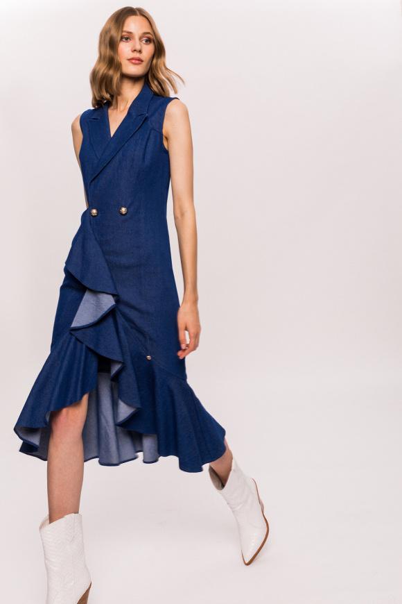 Denim wrap dress with ruffles