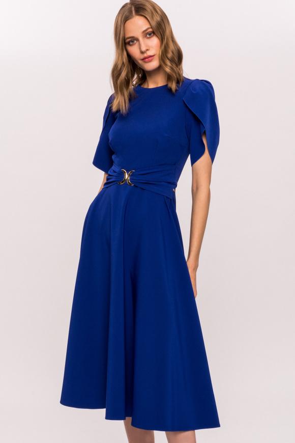 Metallic waist detail dress