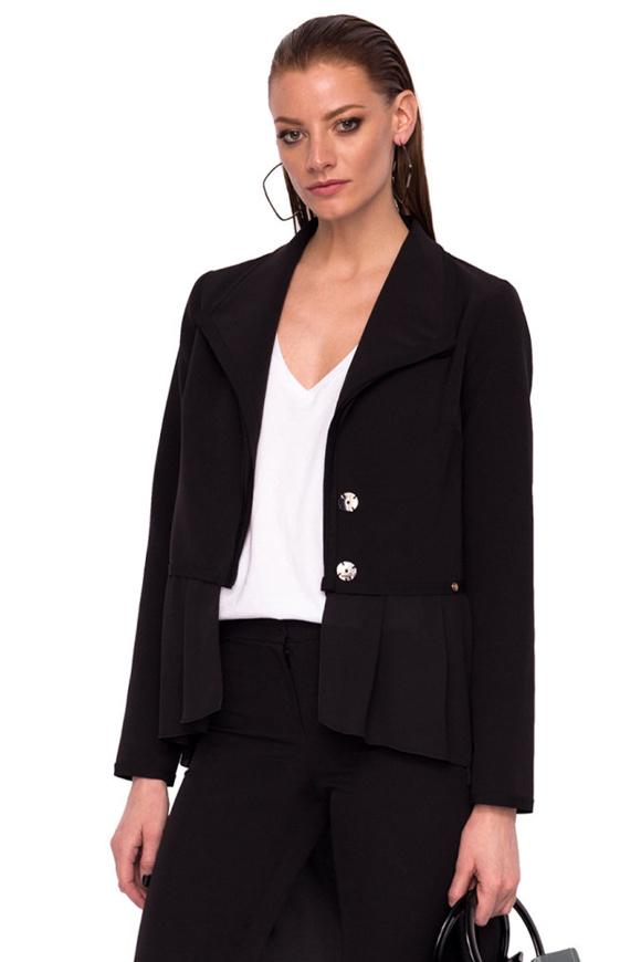 Jacheta asimetrica cu volan din voal