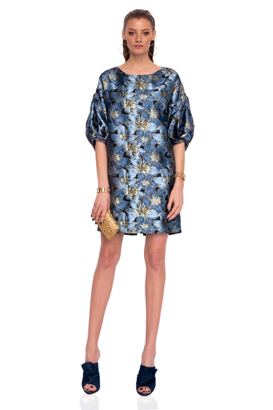 Brocade dress with puffed sleeves
