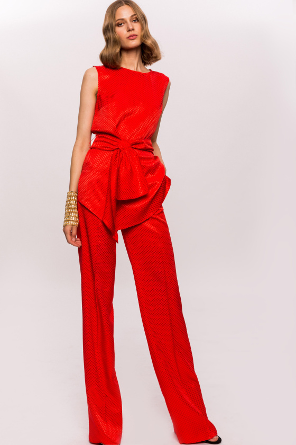 Viscose straight high waist pants