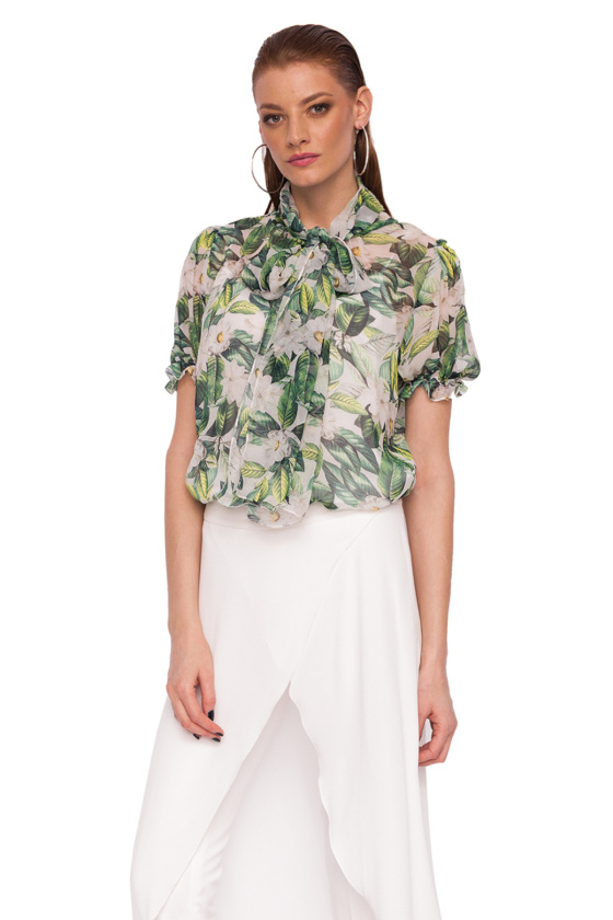 Silk top with floral print