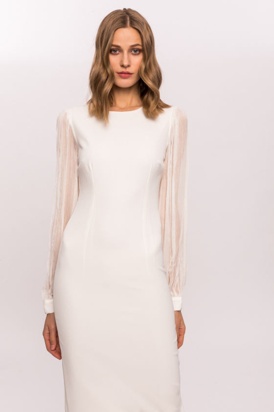 Bodycon dress with silk sleeves
