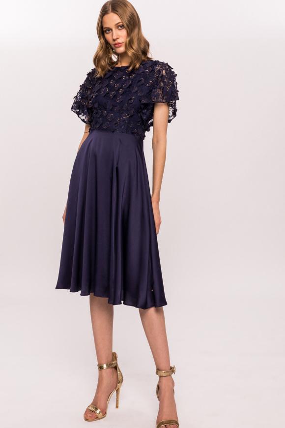 3D floral print A-line dress