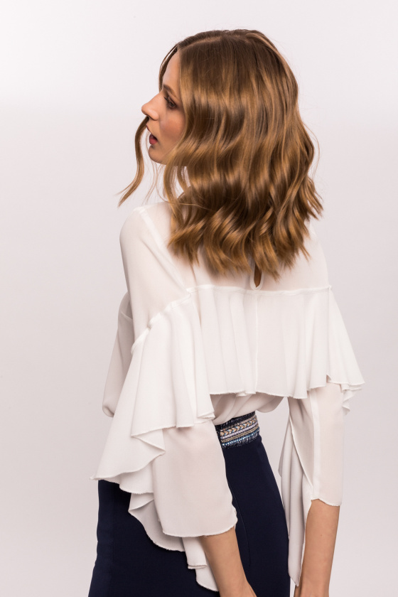 Top with back ruffle
