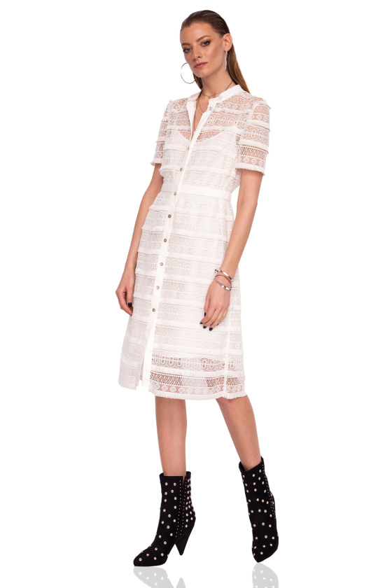 Embroidered day dress with front buttons