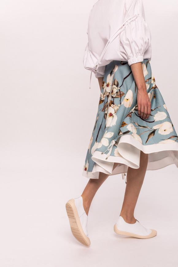 Linen floral print flared skirt